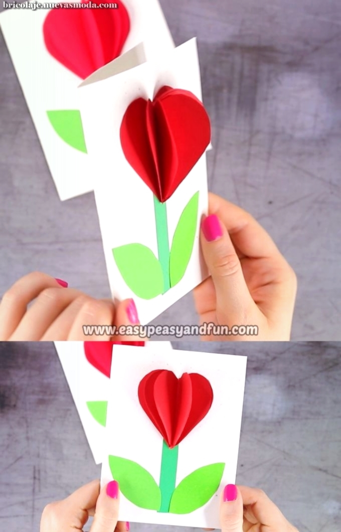3D Heart Flower Card (with flower template) – san Valentín and Mother's day craft idea